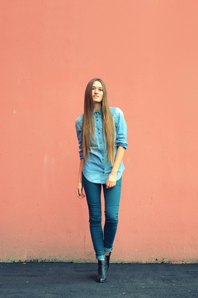 teal pull&bear jeans