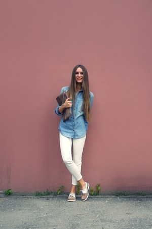 sky blue Mango shirt