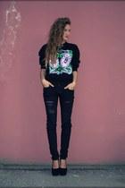 black Diesel jeans - black no brand heels - black no brand jumper