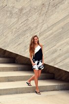 white Zara shorts - black asos top