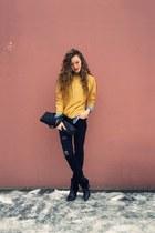 black Mango boots - black Diesel jeans - sky blue Mango shirt