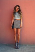 white H&M skirt - silver Jeffrey Campbell boots - periwinkle Cheap Monday top