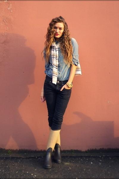 navy Cheap Monday jeans - cream Oasis sweater - sky blue Mango shirt