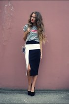 white asos skirt - black no brand pumps