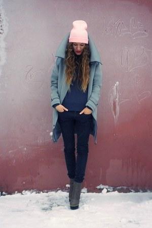 heather gray asos coat - heather gray Betsey Johnson boots