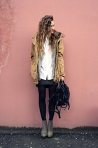 burnt orange Bershka coat - charcoal gray Betsey Johnson boots
