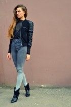 black Mango boots - black lindex jacket - black Cheap Monday bodysuit