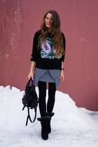 heather gray Taobao skirt - black Taobao bag - black no brand jumper