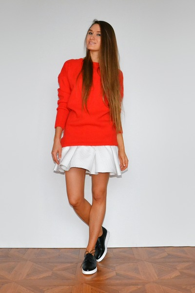 red asos sweater - white asos skirt - black Stradivarius loafers