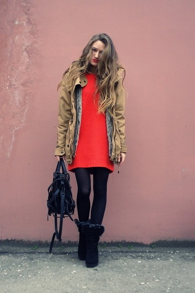 dark khaki Bershka jacket - red asos dress