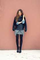 black Mango boots - black lindex jacket - sky blue denim Mango shirt