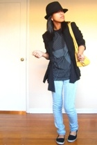hat - blazer - vest - shirt - jeans - purse
