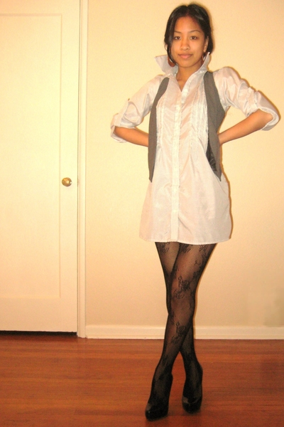 dress - vest - tights - shoes - earrings