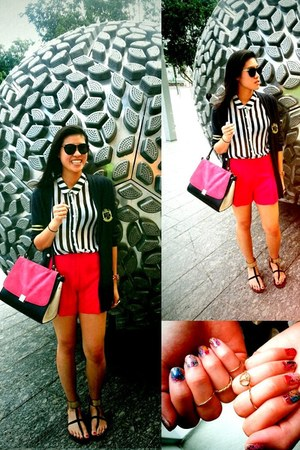 bw stripes H&M top - pink cover random from Hong Kong bag