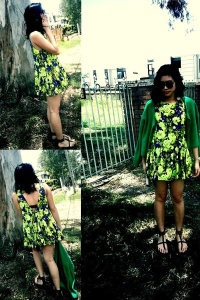 green green cardi H&M cardigan - chartreuse Lioness dress