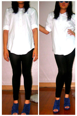 white Ralph Lauren top - black Zara leggings - blue Parisian shoes