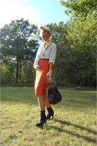 Marni skirt - Tiger of Sweden shirt - Mulberry gloves - Marc Jacobs accessories