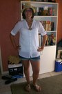 Blue-big-w-shorts-white-k-mart-shirt-brown-factorie-hat-gold-diva-necklace