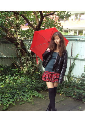red Unknown Japanese skirt - black Primark socks - black H&M jacket - green new