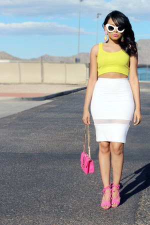 hot pink JustFab bag - white zeroUV sunglasses - lime green Zara top