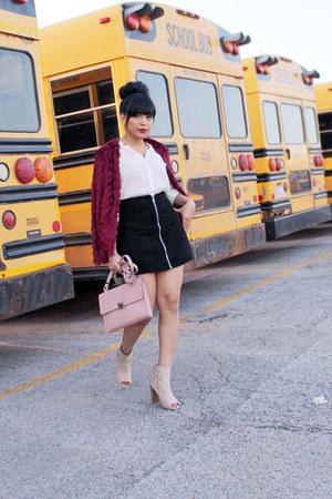 neutral booties Shoedazzle boots - crimson fringe H&M sweater