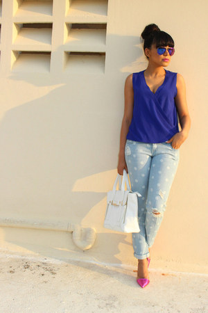 blue wrap Charlotte Russe top - light blue polka dots Target jeans
