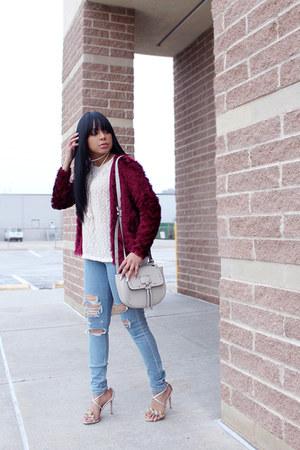 crimson fringe H&M jacket - light blue ripped Express jeans