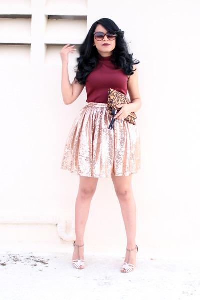 light pink sequins skirt - brown leopard print Sole Society bag