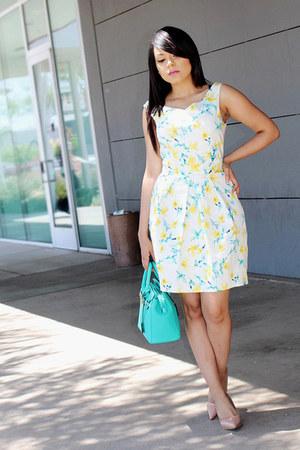yellow floral print Zara dress - aquamarine JustFab bag