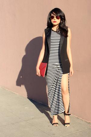 black striped Forever 21 dress - red envelope asos bag