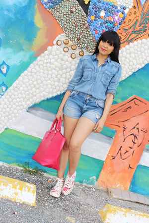 sky blue denim Zara shorts - red JustFab bag - sky blue chambray JustFab top