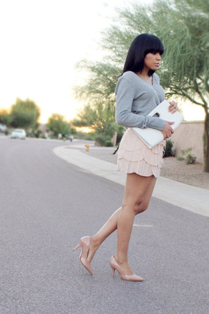 light pink feathers Arden B skirt - heather gray cotton H&M sweater