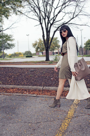 ivory long cardigan Forever 21 cardigan - olive green Sole Society boots