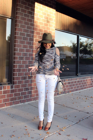 white ripped Express jeans - army green Charlotte Russe hat