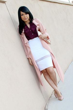 white pencil skirt Zara skirt - crimson ruffles H&M top