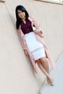 White-pencil-skirt-zara-skirt-crimson-ruffles-h-m-top