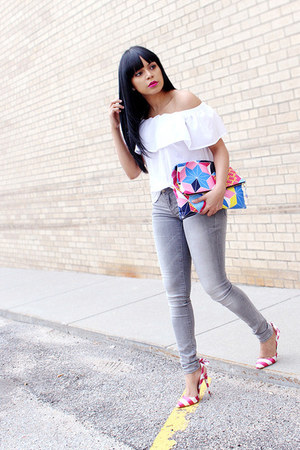 heather gray skinny jeans Zara jeans - white French Connection top