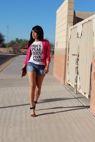 white graphic tee Forever 21 t-shirt - hot pink boyfriend Charlotte Russe blazer