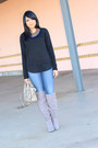 Heather-gray-justfab-boots-navy-bebe-jeans-black-cotton-forever-21-top