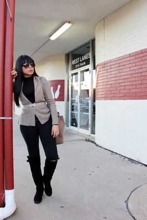 tan Hermes belt - black Zara jeans - tan H&M cardigan