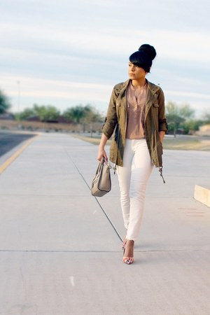 army green anorak JustFab jacket - white skinny jeans JustFab jeans