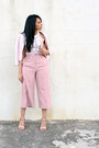 Ivory-sequined-bebe-top-light-pink-culottes-zara-pants