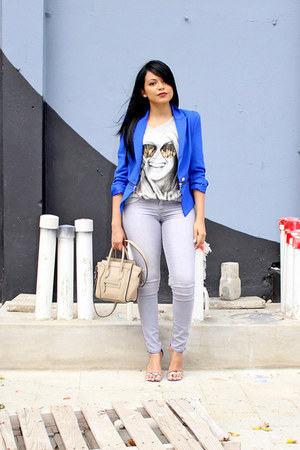 blue zipper Forever 21 blazer - heather gray graphic tee JustFab shirt