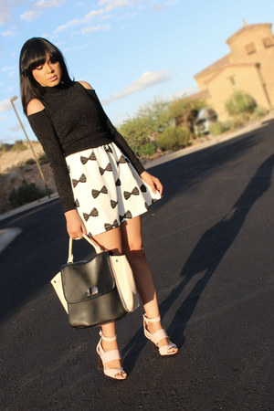 black turtleneck Bebe sweater - ivory bow H&M dress