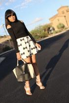 black turtleneck Bebe sweater - ivory bow H&M dress