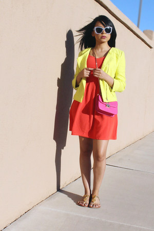 yellow tweed Charlotte Russe jacket - hot pink JustFab bag