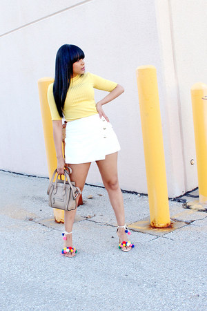 tan Celine bag - yellow ribbed Zara top - white pom poms custom made sandals