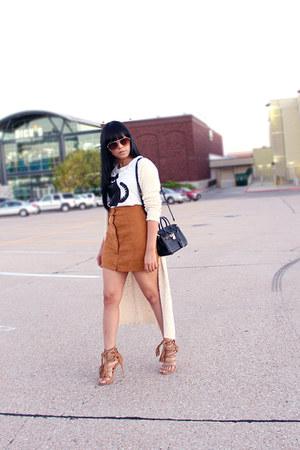 black Hermes bag - black H&M t-shirt - tawny romwe skirt