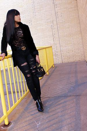 black ripped American Eagle jeans - black velvet Express blazer
