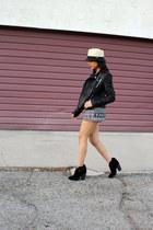 black Zara jacket - tan fedora Bebe hat - black tribal Forever 21 romper